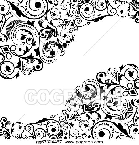 Vector Illustration Black And White Floral Corner Vector Ornament