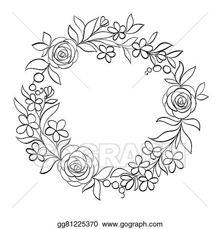EPS Vector - Black and white floral frame. Stock Clipart ...