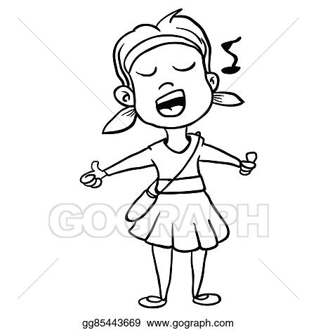 Girl Singing Clipart Black And White