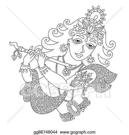EPS Illustration - Black and white god lord krishna for janmashtami
