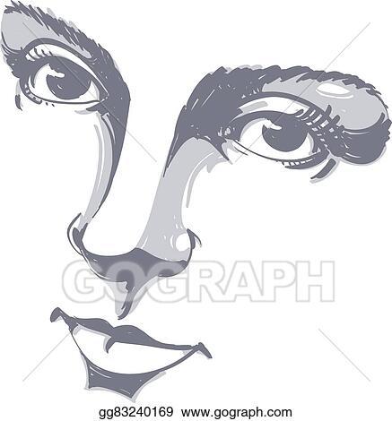 Illustration Visage eps illustration - black and white illustration of lady face