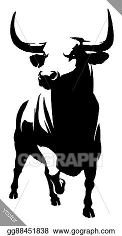 vector art black and white linear paint draw bull vector