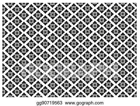 Vector Art Black And White Of Thai Vintage Wallpaper Pattern