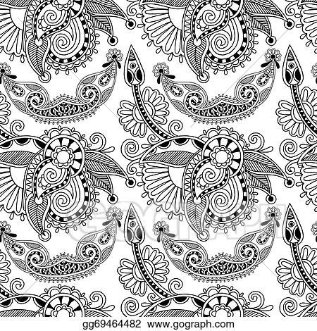 Vector Stock Black And White Ornate Seamless Flower Paisley Design