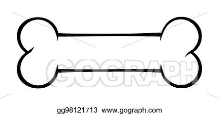 Eps Vector Black And White Outlined Dog Bone Cartoon