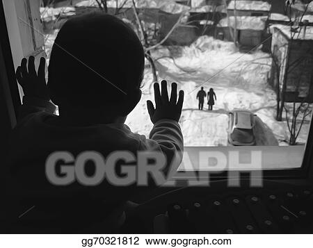 Stock Photography Black And White Photo Small Child Looking Out The Window Stock Photo Gg70321812 Gograph