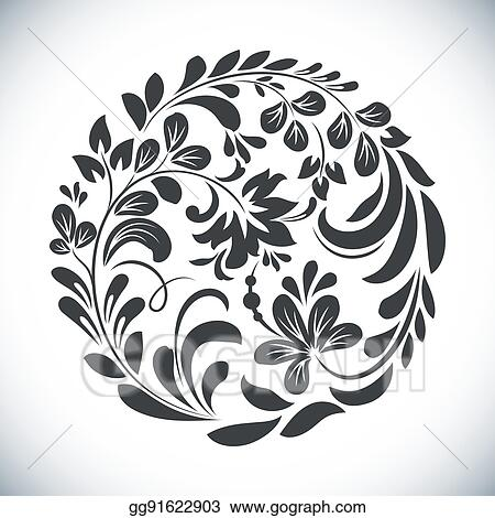 Eps Vector Black And White Round Floral Element Vector