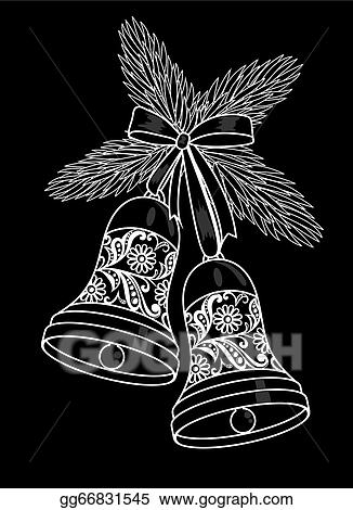 Black And White Silhouette Of A Bell With Floral Design Hanging On Christmas Tree Branch