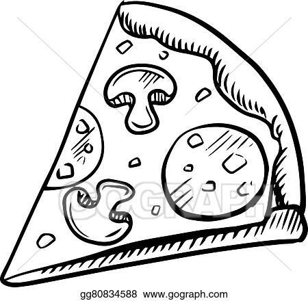 clip art vector black and white slice of pepperoni pizza stock rh gograph com pizza party clipart black and white pizza boxes clipart black and white
