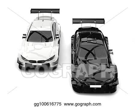 Stock Illustration Black And White Super Race Cars Top Down View