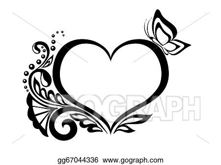 Vector Stock Black And White Symbol Of A Heart With Floral Design