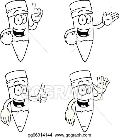 Vector Stock Black And White Talking Cartoon Pencils Set Clipart Illustration Gg66914144 Gograph