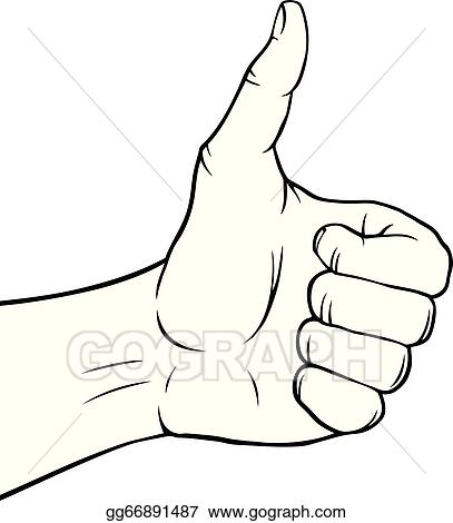 Eps Vector Black And White Thumbs Up Stock Clipart Illustration