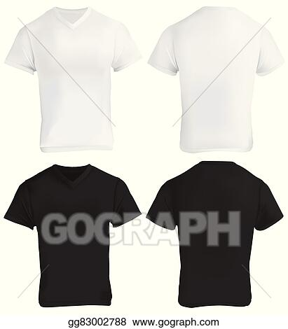 6997c98e55d1 Vector Stock - Black and white v-neck shirt design template. Stock ...