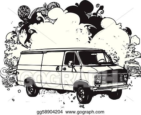 Eps Illustration Black And White Van Illustration Vector Clipart