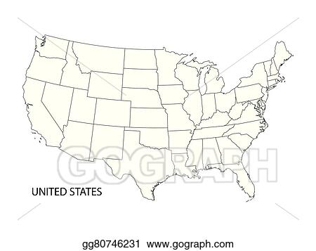 Map Of America Clipart.Vector Art Black And White Vector Map Of United States Of America