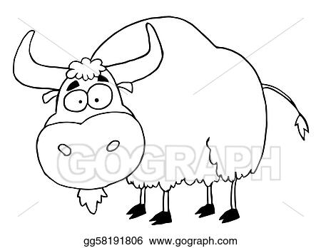Vector Clipart Black And White Yak Vector Illustration