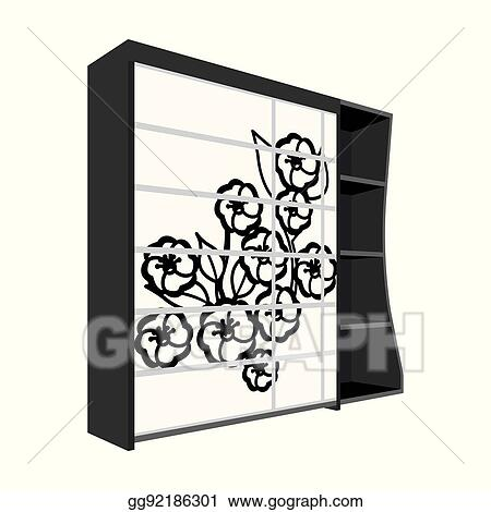 Wardrobe clipart black and white  Vector Art - Black bedroom wardrobe with cells.wardrobe with a ...