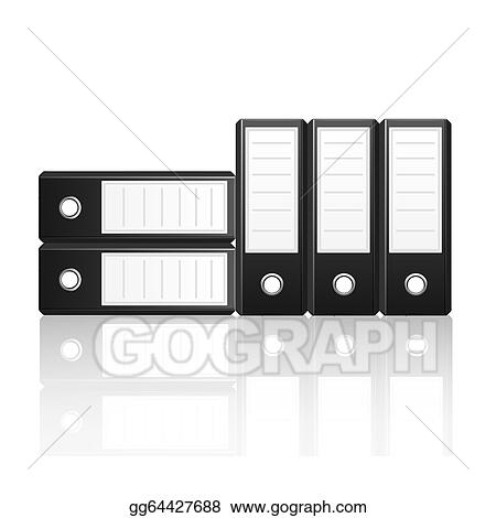 eps vector black binders vertical and horizontal isolated on white