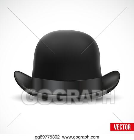 f6e7bd0040b Vector Clipart - Black bowler hat on a white background vector ...