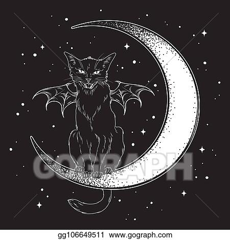 vector stock black cat sitting on the crescent moon clipart illustration gg106649511 gograph https www gograph com clipart license summary gg106649511