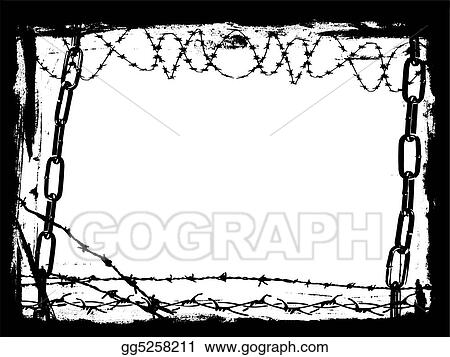 Stock Illustration - Black chains and barbed wire vector grunge ...