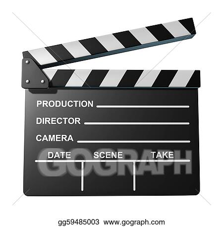 stock illustrations black clap board movies symbol stock clipart
