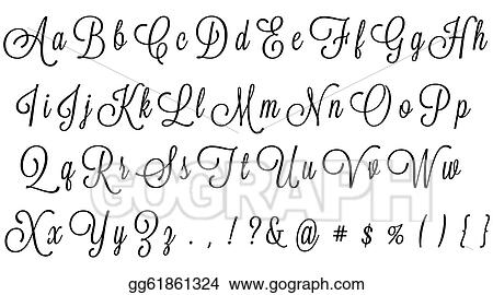 Stock Illustration - Black cursive alphabet. Clip Art gg61861324 ...