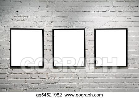 Pictures - Black frames on white brick wall 3. Stock Photo ...