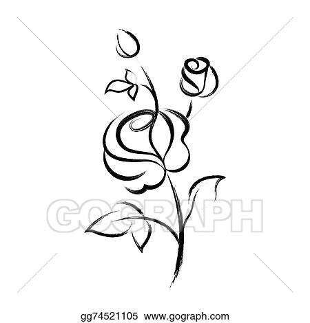 vector art black hand drawn rose isolated on white background