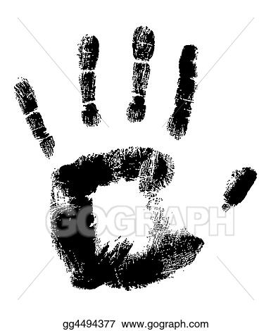 Drawing Black Handprint On White Clipart Drawing