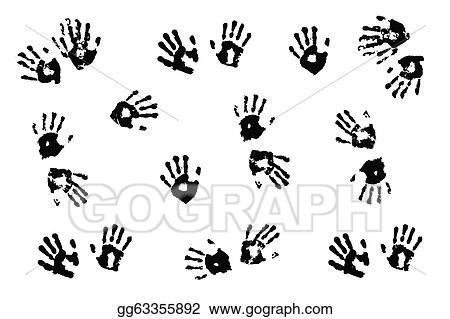 Black Handprints Made By Children On White Background
