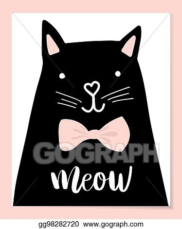 Vector Clipart Black Head Of Cute Cat With Hand Lettering