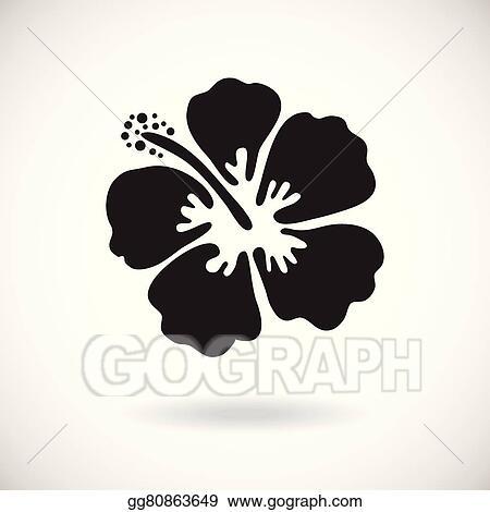 Eps Illustration Black Hibiscus Flower Vector Clipart Gg80863649