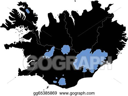 Vector Art - Black iceland map. EPS clipart gg65385869 - GoGraph