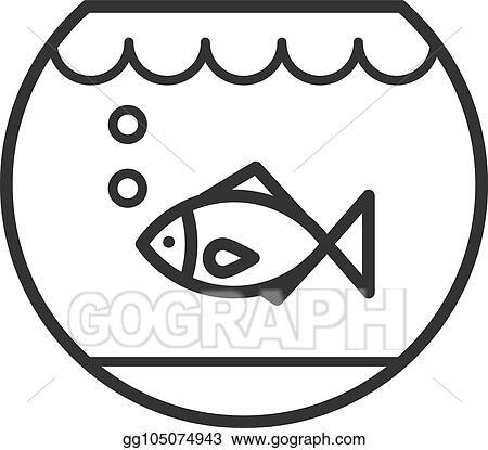 Vector Art Black Isolated Outline Icon Of Aquarium With Fish On