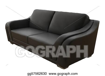 Vector Art Black Leather Sofa Isolated On White Background Vector