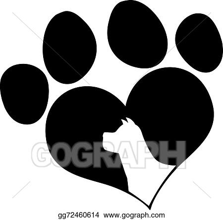 vector stock black love paw print with dog head stock clip art rh gograph com Real Dog Paw Print Small Dog Paw Prints