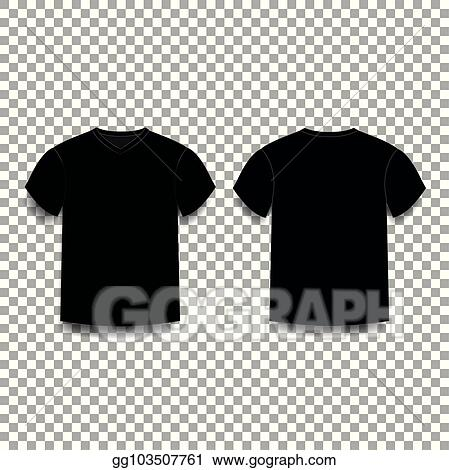 Black Mens T Shirt Template V Neck Front And Back Side Views