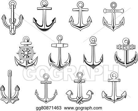 313a537ae Vector Art - Black outline anchor design elements. EPS clipart ...