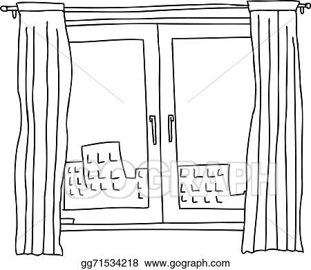 vector art black outline windows clipart drawing gg71534218 gograph