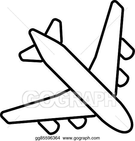 Vector Stock Black Plane Outline Stock Clip Art Gg85596364