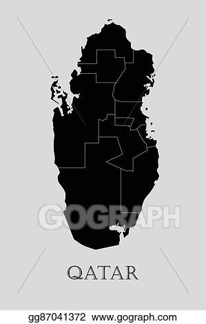 Vector Illustration - Black qatar map - vector illustration. Stock ...