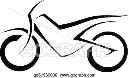 vector art black silhouette of a motorcycle on a white background rh gograph com