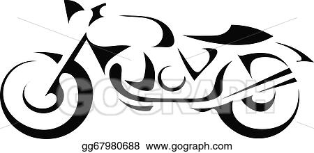Vector Art Black Silhouette Of A Motorcycle Clipart Drawing