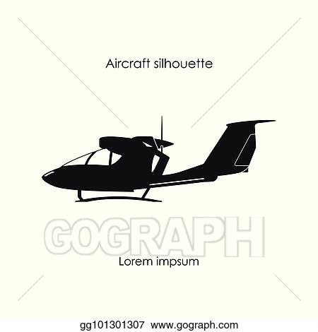 Vector Art Black Silhouette Of A Sports Plane On A White