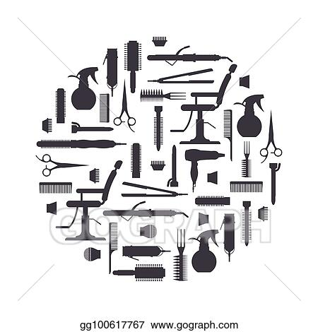 Black Silhouette Of Hairdresser Objects In Flat Style Isolated On White Background Hair Salon Equipment And Tools Logo Icons Hairdryer Comb Scissors