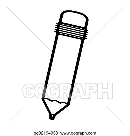 eps illustration black silhouette pencil with eraser vector clipart gg92194938 gograph https www gograph com clipart license summary gg92194938
