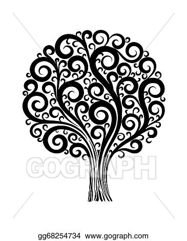 Vector illustration black tree in a flower design with swirls and black tree in a flower design with swirls and flourishes on a white background mightylinksfo