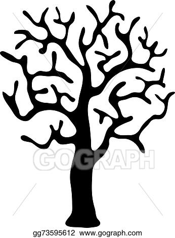 Vector Illustration Black Tree Without Leaves Vector Stock Clip